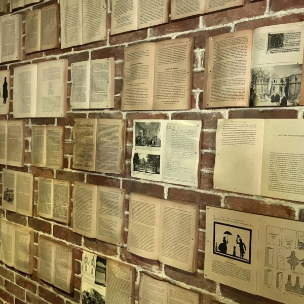 Wall of repurposed old books