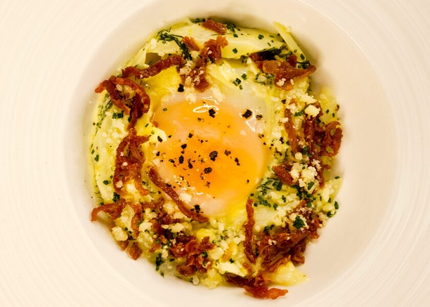 Soft Egg with Creamy White Asparagus Fricassee, Soft Potatoes and Crispy Prosciutto